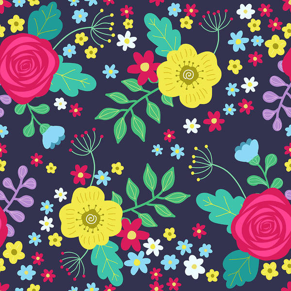 Printmaking Wall Art - Digital Art - Floral Colorful Seamless Pattern With by Ekaterina Bedoeva