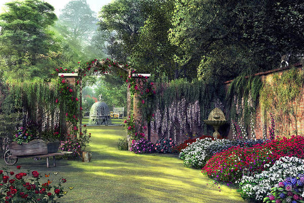 Victorian Garden Wall Art - Digital Art - Floral Garden by MGL Meiklejohn Graphics Licensing