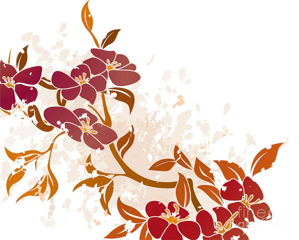 Single Leaf Mixed Media - Floral Grunge Background Vector by Christos Georghiou