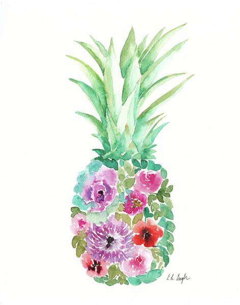 Fruit Wall Art - Painting - Floral Pineapple IIi by Elise Engh
