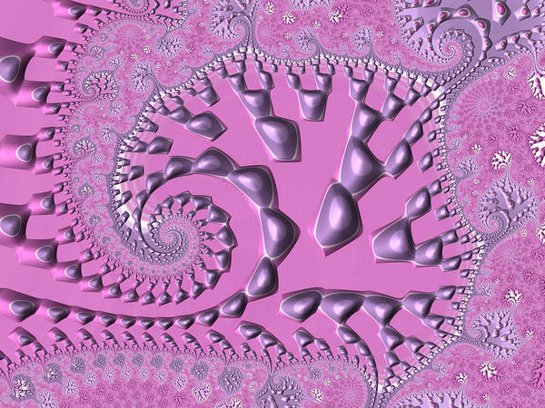 Pink And White Digital Art - Floral Spiral Fractal Artwork Radiant Orchid by Matthias Hauser