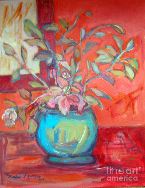 Painting - Floral With Orange Background by Marlene Robbins