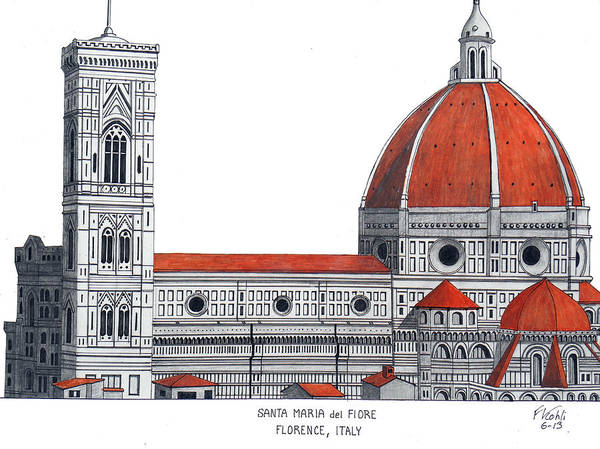 Wall Art - Drawing - Florence Cathedral by Frederic Kohli
