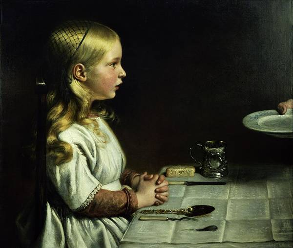 Wall Art - Photograph - Florence Cope Saying Grace At Dinnertime by Charles West Cope