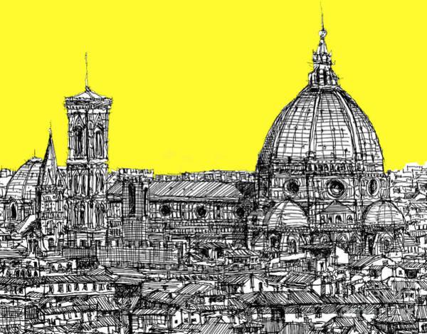Duomo Di Firenze Wall Art - Drawing - Florence Duomo In Acid Yellow by Adendorff Design