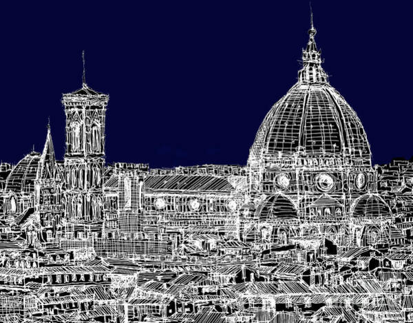 Duomo Di Firenze Wall Art - Drawing - Florence Duomo In Dark Navy by Adendorff Design