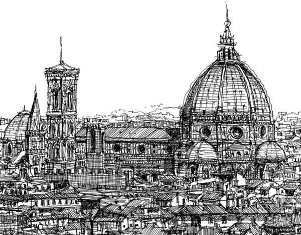 Duomo Di Firenze Wall Art - Drawing - Florence Duomo In Ink  by Adendorff Design
