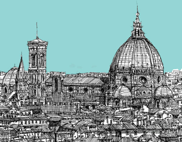 Light Blue Drawing - Florence Duomo On Light Blue by Adendorff Design