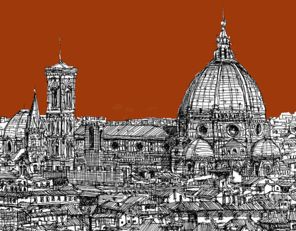Duomo Di Firenze Wall Art - Drawing - Florence Duomo On Sepia  by Adendorff Design