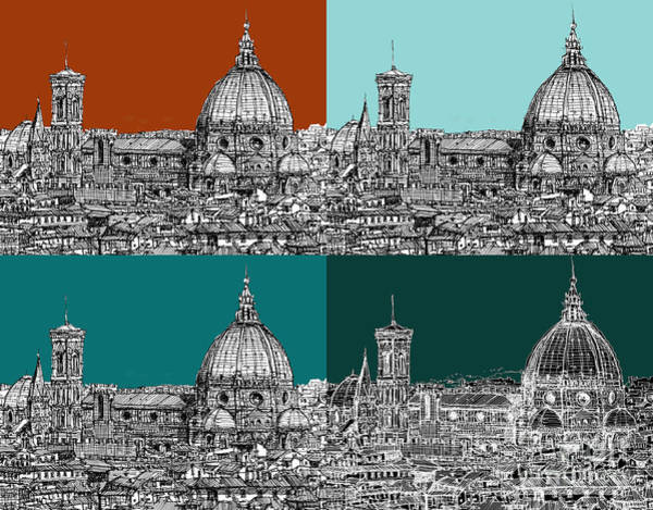Duomo Di Firenze Wall Art - Drawing - Florence Foursome 1 by Adendorff Design