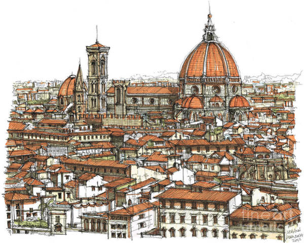 Wedding Gift Wall Art - Drawing - Florence In Colour by Adendorff Design