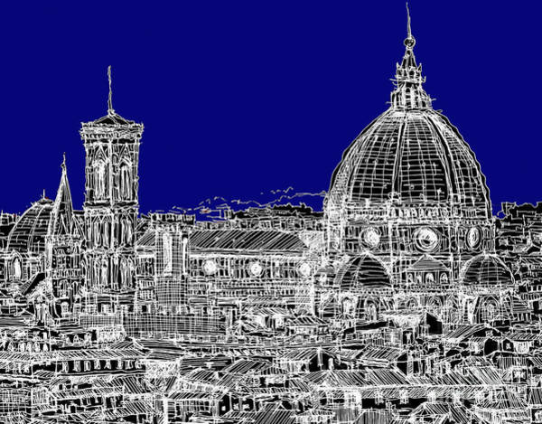 Duomo Di Firenze Wall Art - Drawing - Florence Italy On Blue by Adendorff Design
