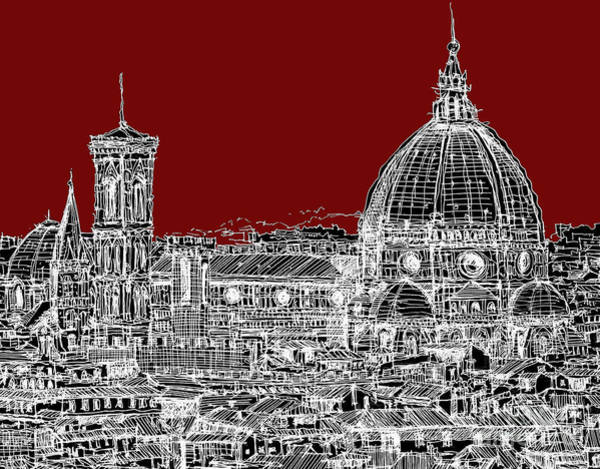 Duomo Di Firenze Wall Art - Drawing - Florence On Red  by Adendorff Design