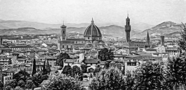 Florence Panorama - Paint Bw Art Print