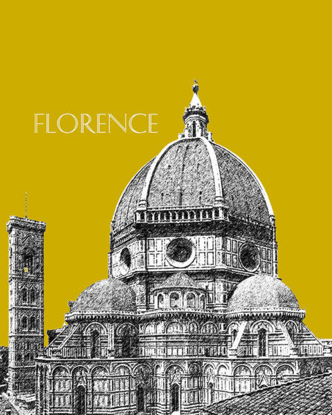 Wall Art - Digital Art - Florence Skyline Cathedral Of Santa Maria Del Fiore 1 - Gold   by DB Artist