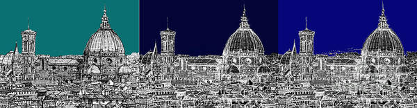Duomo Di Firenze Wall Art - Drawing - Florence Triptych In Blue by Adendorff Design