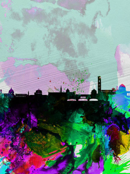 Florence Wall Art - Painting - Florence Watercolor Skyline by Naxart Studio
