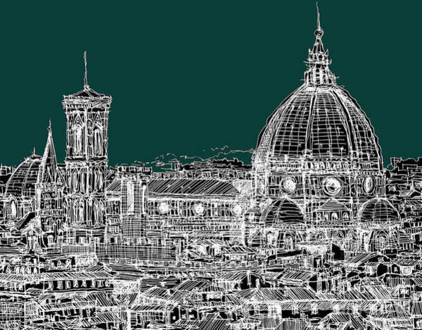 Duomo Di Firenze Wall Art - Drawing - Florence White On Turquoise by Adendorff Design