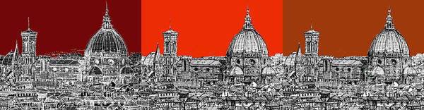 Duomo Di Firenze Wall Art - Drawing - Florence's Duomo In Oranges by Adendorff Design