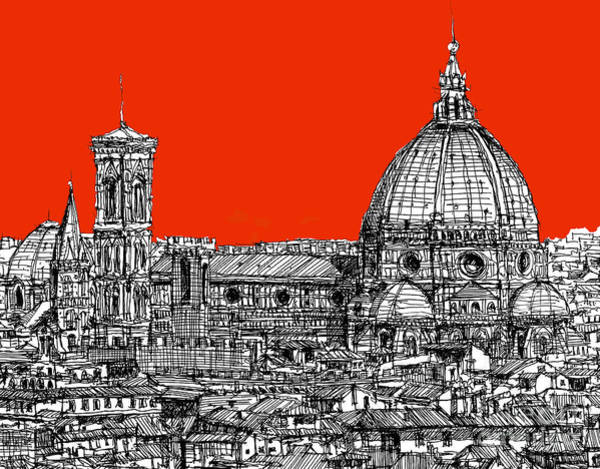 Duomo Di Firenze Wall Art - Drawing - Florence's Duomo On Orange by Adendorff Design
