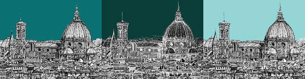Duomo Di Firenze Wall Art - Drawing - Florence's Duomo Triptych by Adendorff Design