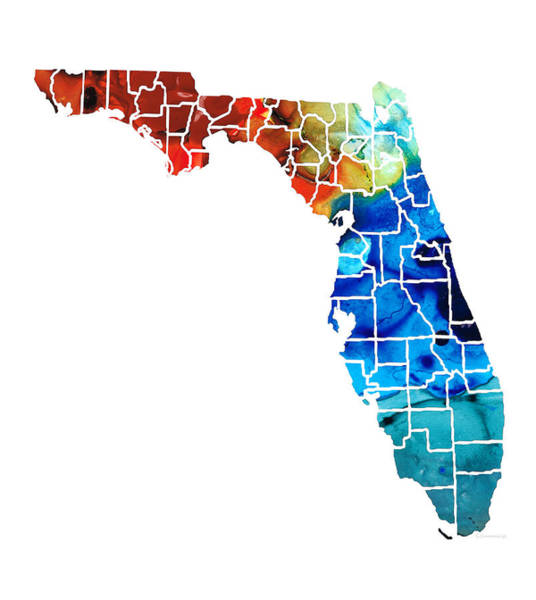 Wall Art - Painting - Florida - Map By Counties Sharon Cummings Art by Sharon Cummings