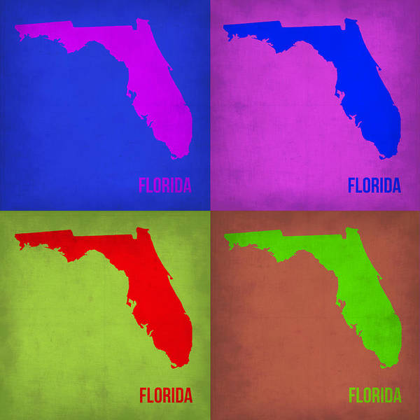 Wall Art - Painting - Florida Pop Art Map 1 by Naxart Studio