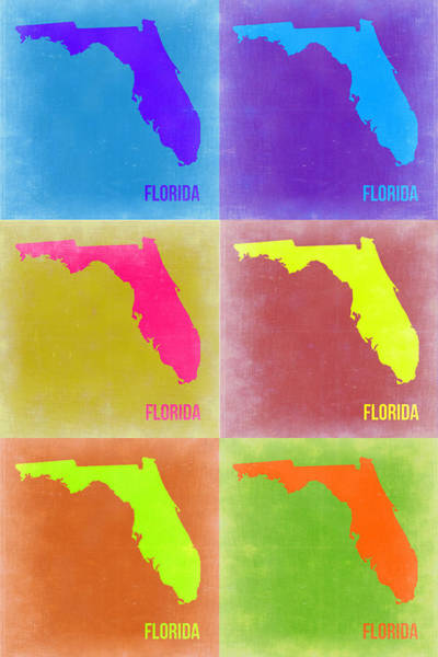 Map Painting - Florida Pop Art Map 2 by Naxart Studio