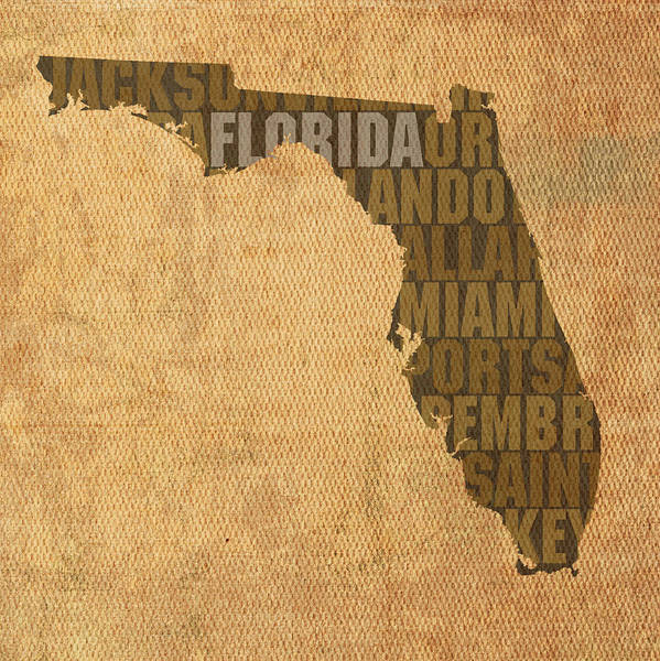 Florida Wall Art - Mixed Media - Florida Word Art State Map On Canvas by Design Turnpike