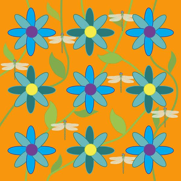Digital Art - Flower And Dragonfly Design With Orange Background by Belinda Greb