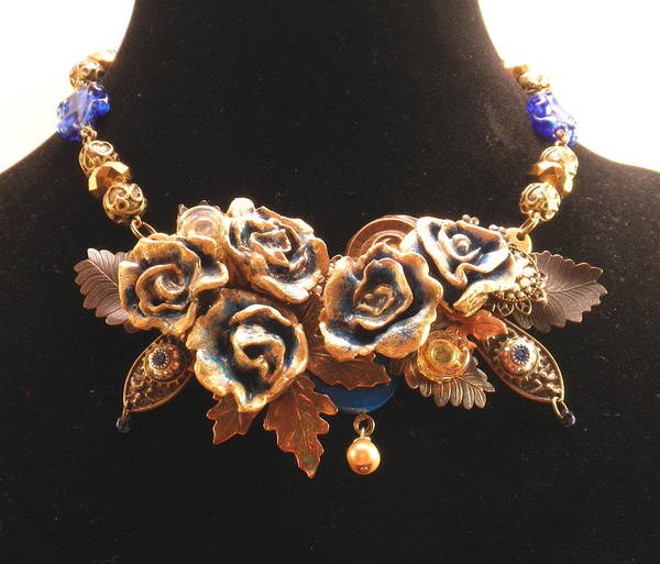 Jewelry - Flower Art Necklace With Vintage Charms And Venetian Glass by Outre Art  Natalie Eisen