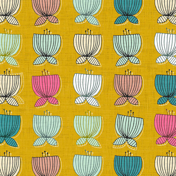 Retro Drawing - Flower Cups Yellow by MGL Meiklejohn Graphics Licensing