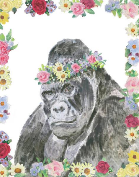 Monkey Flower Wall Art - Painting - Flower Friends Vi by Emily Adams