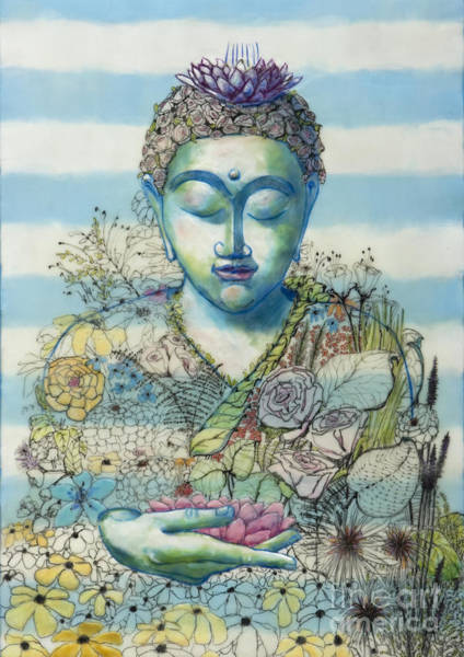Pen And Ink Mixed Media - Flower Garden Buddha by Andrea Benson