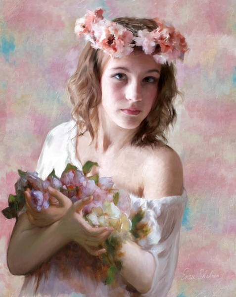 Wall Art - Painting - Flower Girl by Portraits By NC