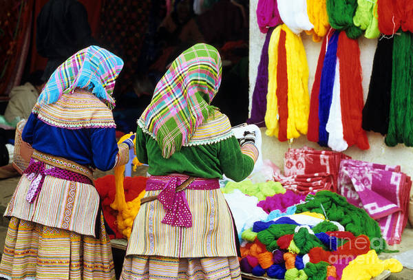Ethnic Minority Photograph - Flower Hmong Wool Stall by Rick Piper Photography