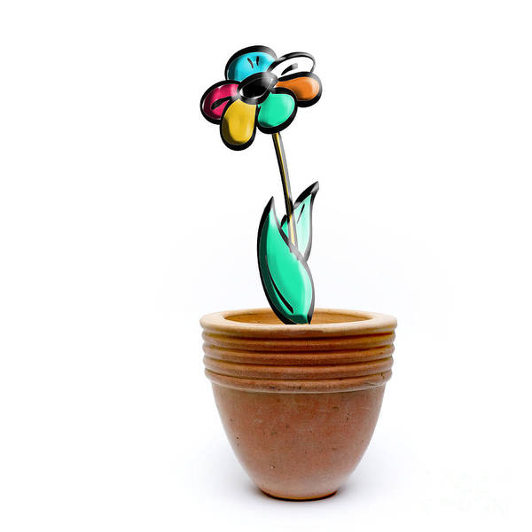 Cutout Wall Art - Photograph - Flower In A Pot. Concept by Bernard Jaubert