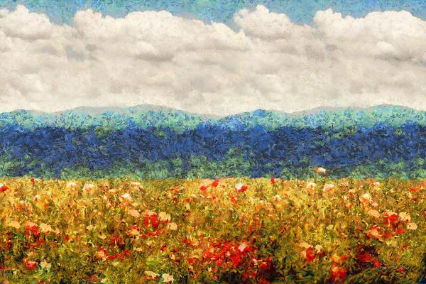 Poppies Digital Art - Flower - Landscape - Fragrant Valley by Mike Savad