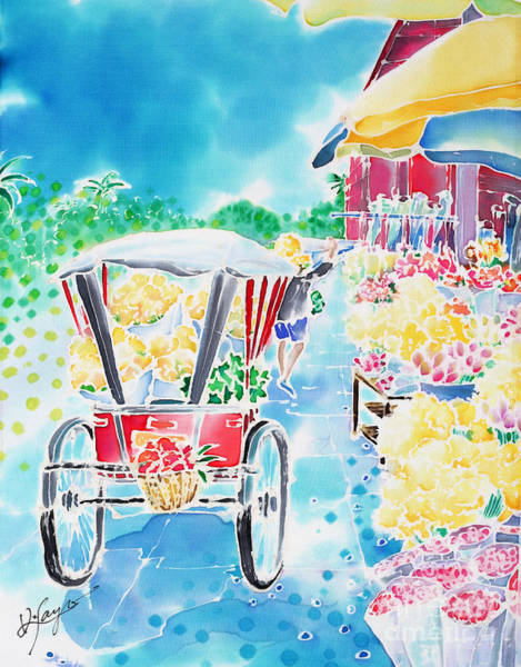 Painting - Flower Market  In Chiang Mai by Hisayo Ohta