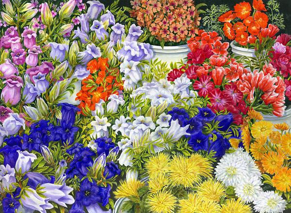 Flower Market Painting - Flower Market by Karen Wright