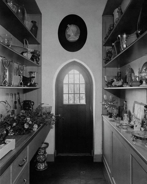 Tile Floor Photograph - Flower Room In The Home Of Mrs. Charles Wheeler by Peter Nyholm & F.S. Lincoln