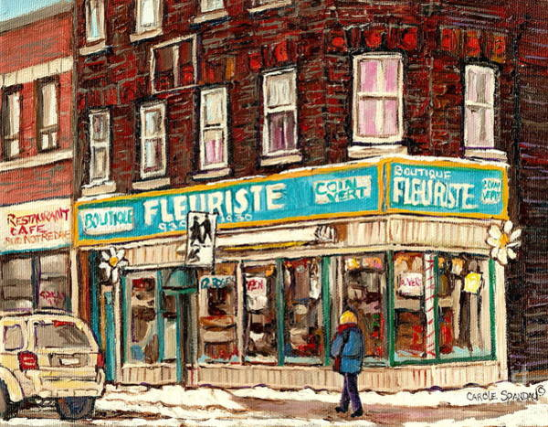 Painting - Flower Shop Rue Notre Dame Street Coin Vert Fleuriste Boutique Montreal Winter Stroll Scene by Carole Spandau