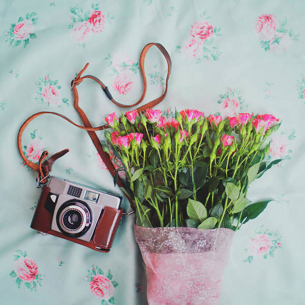 Fragility Photograph - Flowers And A Camera by Julia Davila-lampe