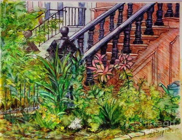 Painting - Flowers And Balustrade Eighth Street by Nancy Wait