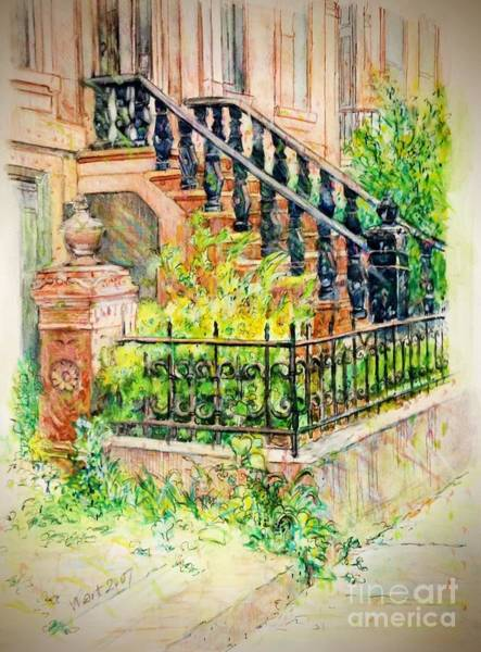 Painting - Flowers And Balustrade Ninth Street by Nancy Wait