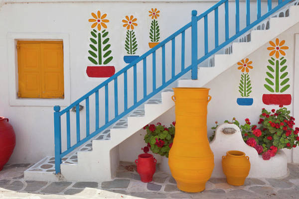 Wall Art - Photograph - Flowers And Colorful Pots, Chora by Adam Jones