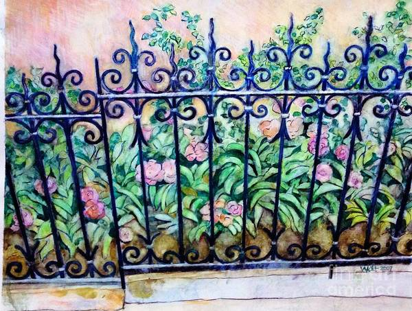 Painting - Flowers And Fence On Eighth Avenue by Nancy Wait