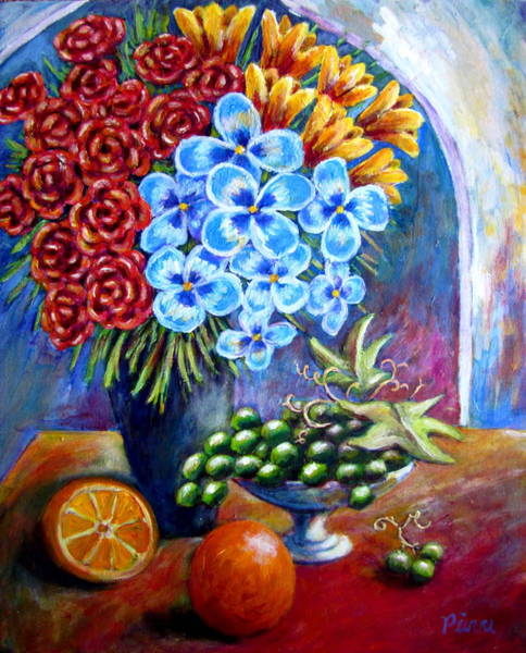 Flowers And Fruit  Art Print