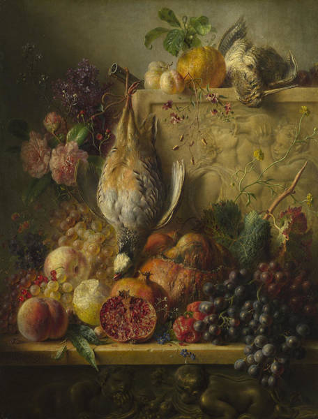 Wall Art - Painting - Flowers And Game by Georgius Jacobus Johannes van Os