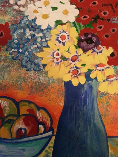 Painting - Flowers And Oranges by Nikki Dalton
